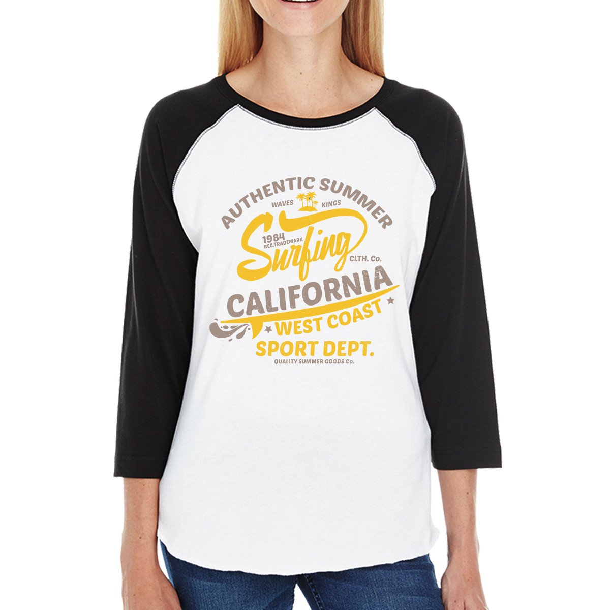 Authentic Summer Surfing California Womens Black And White Baseball Shirt