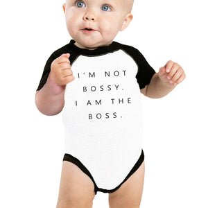 I'm Not Bossy Infant Baseball Shirt Funny Baby Birthday Shower Gift