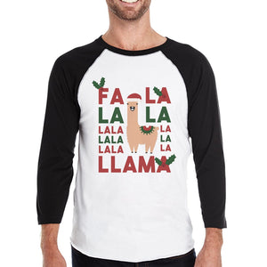 Falala Llama Mens Baseball Shirt Christmas Raglan Tee Gift For Him