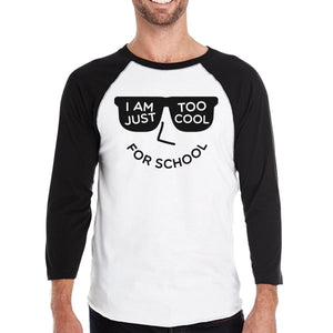 Too Cool For School Mens Black And White Baseball Shirt