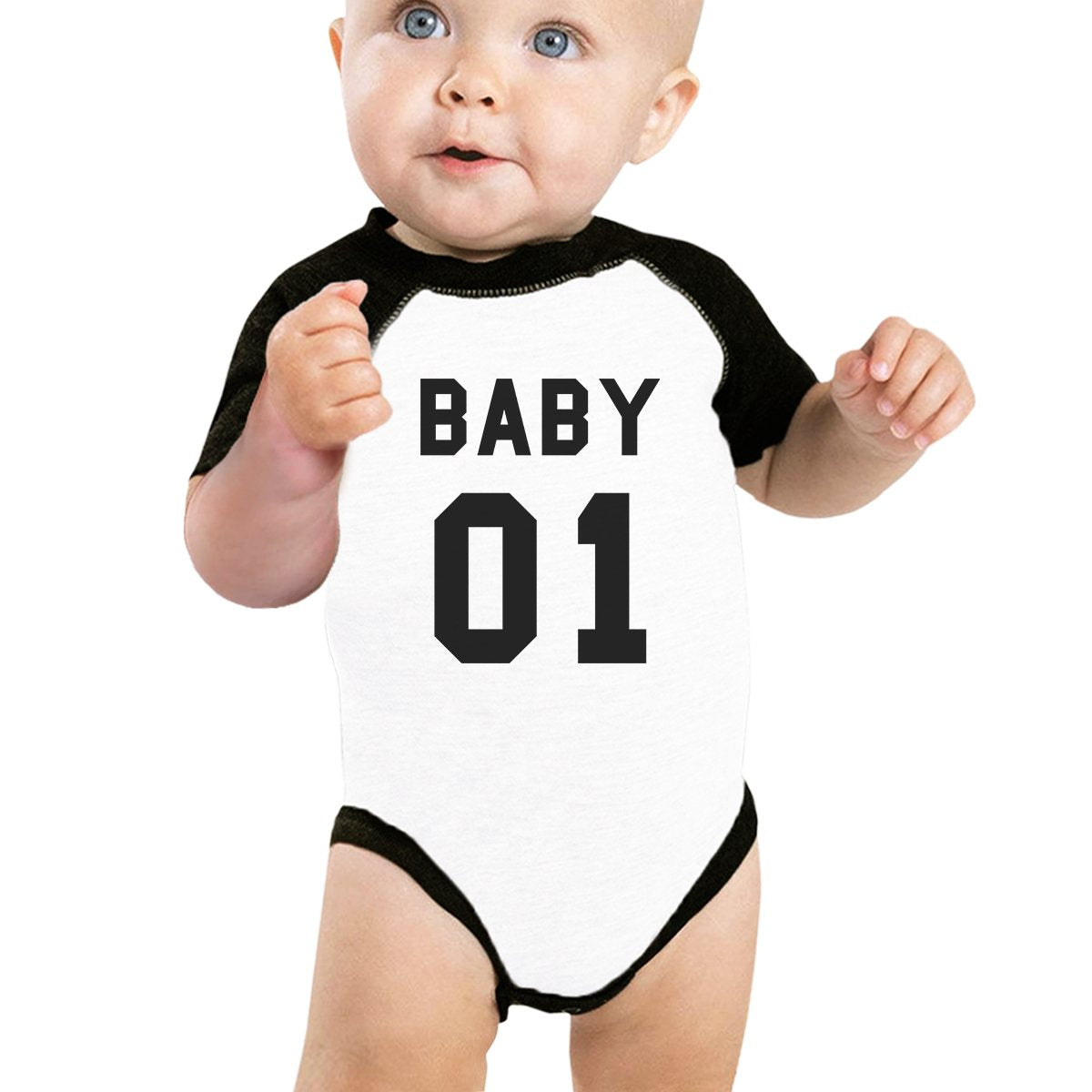 Daddy01 Mommy01 Kid01 Baby01 Pet01 Baby Black And White Baseball Shirt