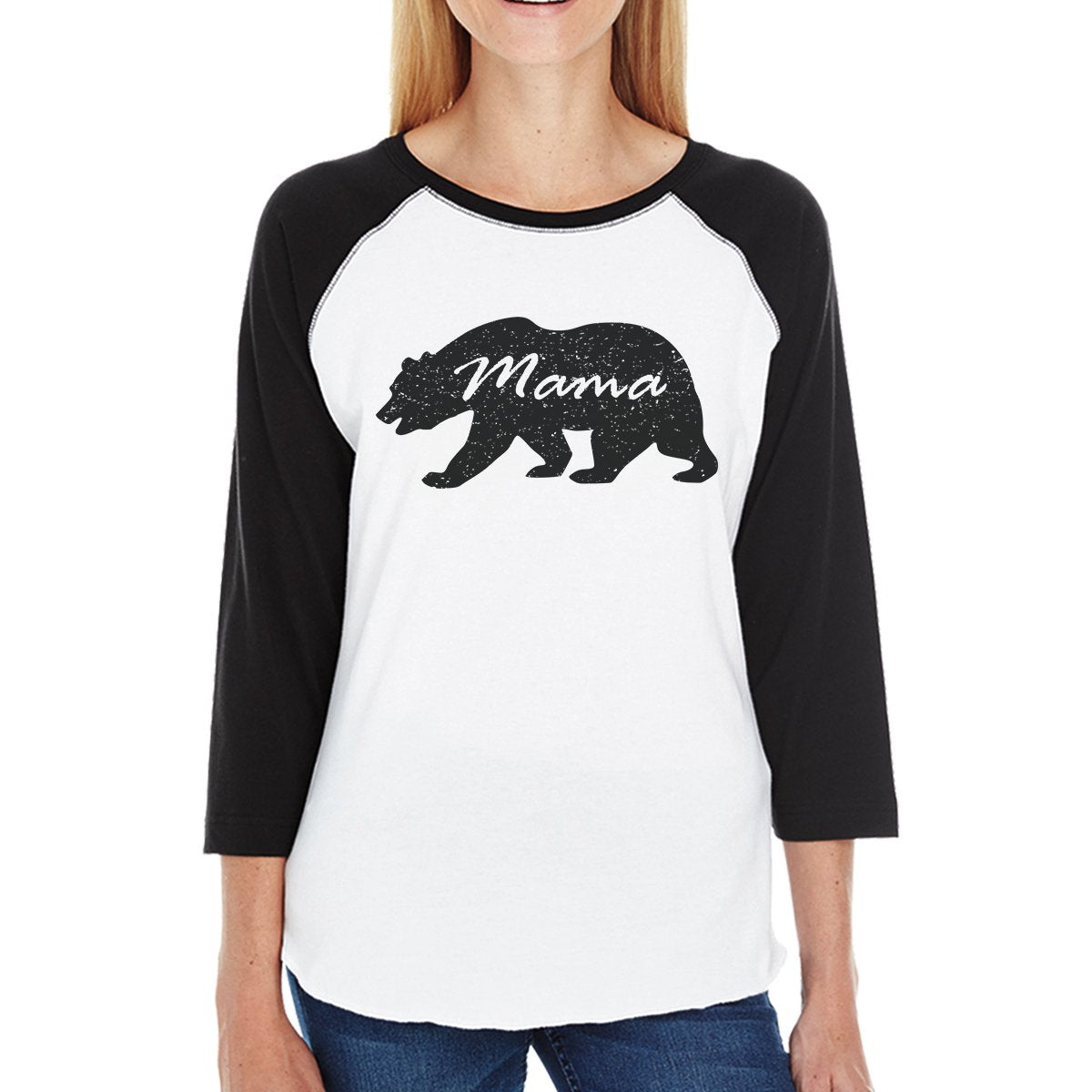 Papa Mama Baby Bears Womens Black And White Baseball Shirt
