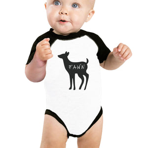 Buck Doe And Fawn Baby Black And White Baseball Shirt