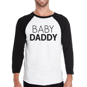 Baby Daddy Baby Mama And Baby Mens Black And White BaseBall Shirt