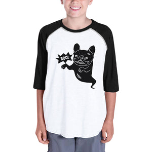 Boo French Bulldog Ghost Kids Black And White BaseBall Shirt