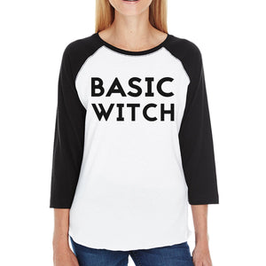 Basic Witch Womens Black And White BaseBall Shirt
