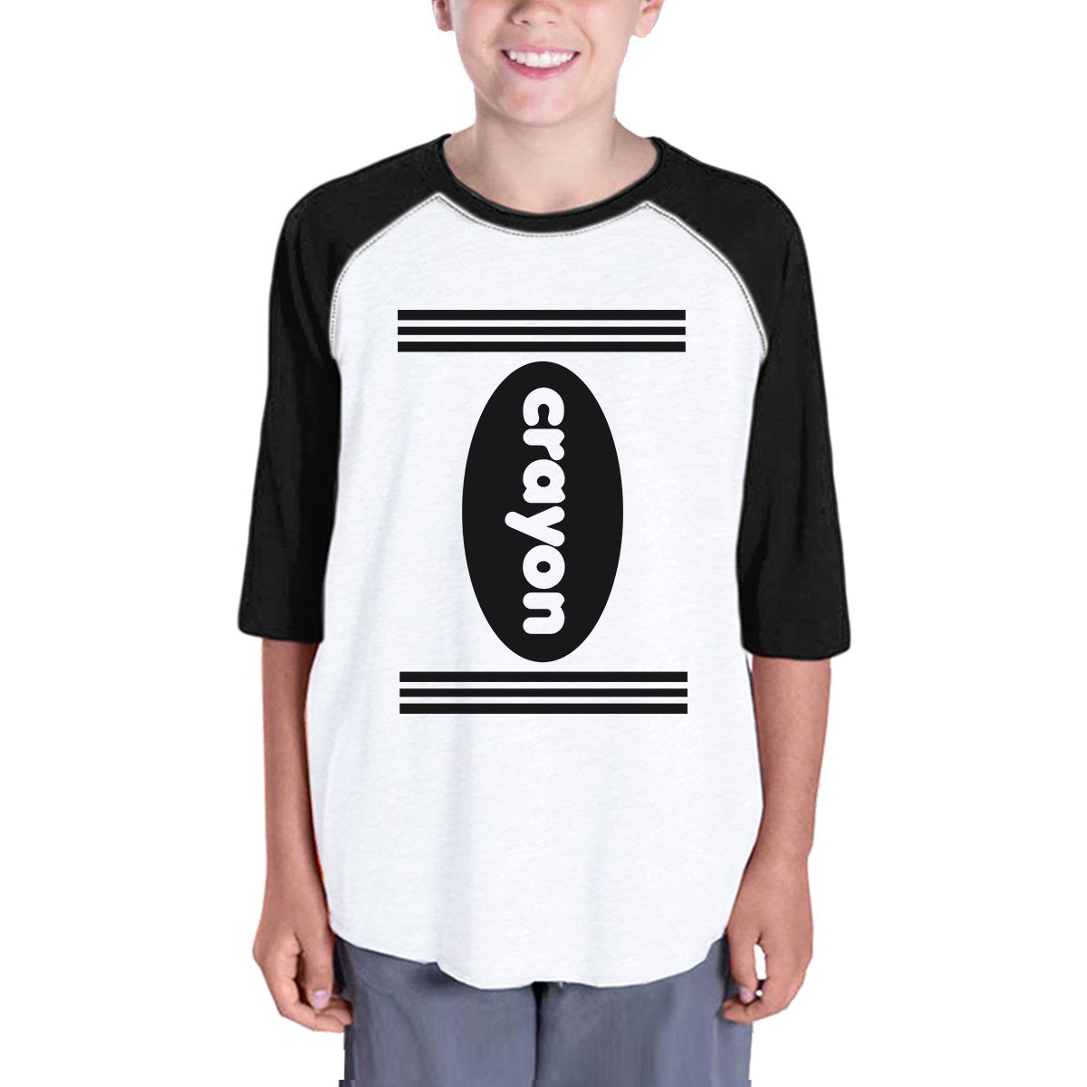 Crayon Kids Black And White BaseBall Shirt