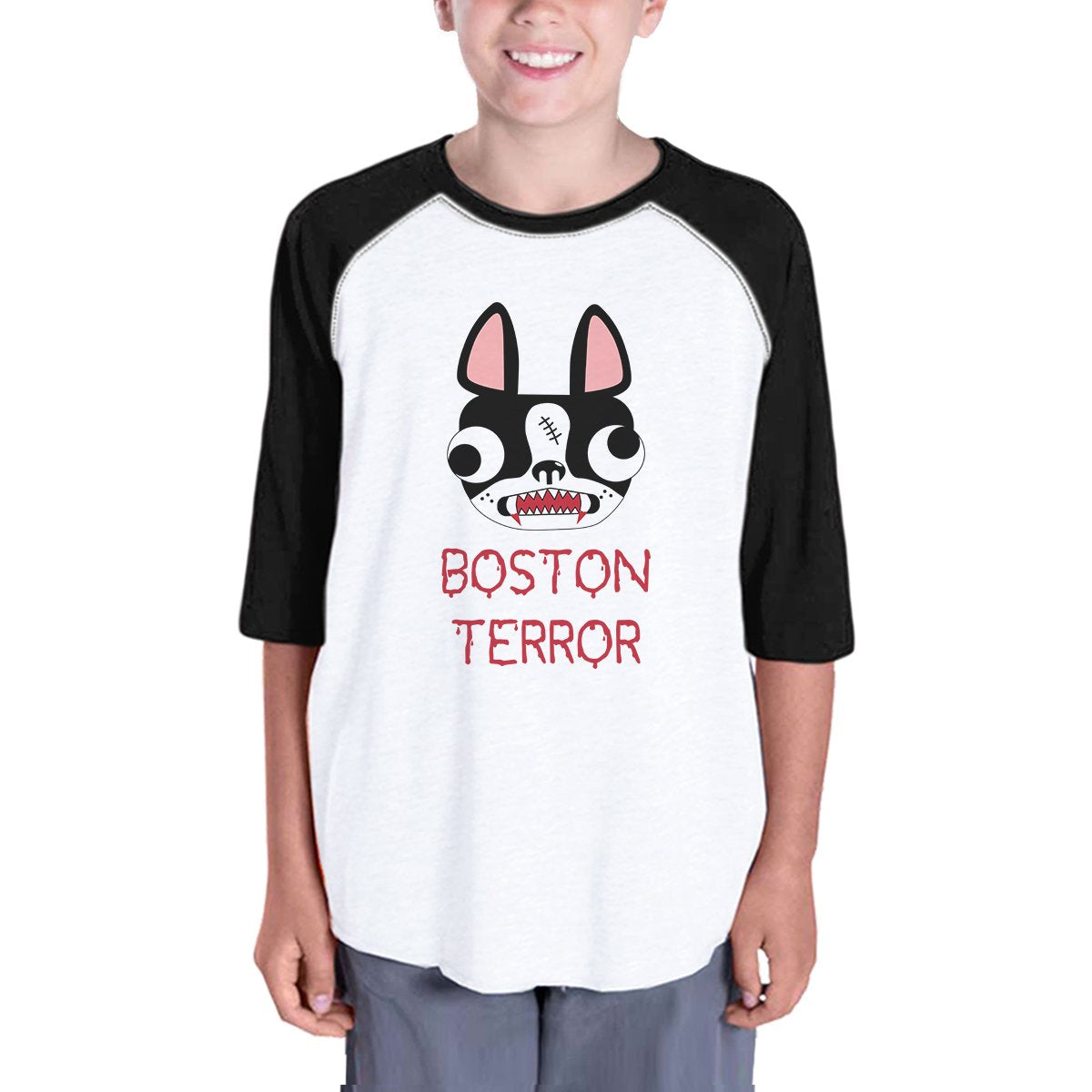 Boston Terror Terrier Kids Black And White BaseBall Shirt