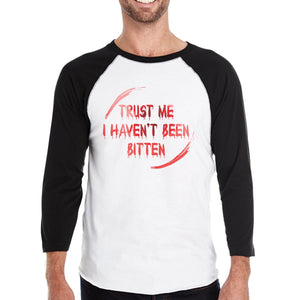 Trust Me I Haven't Been Bitten Blood Mens Black And White BaseBall Shirt