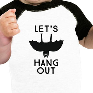 Let's Hang Out Bat Baby Black And White Baseball Shirt