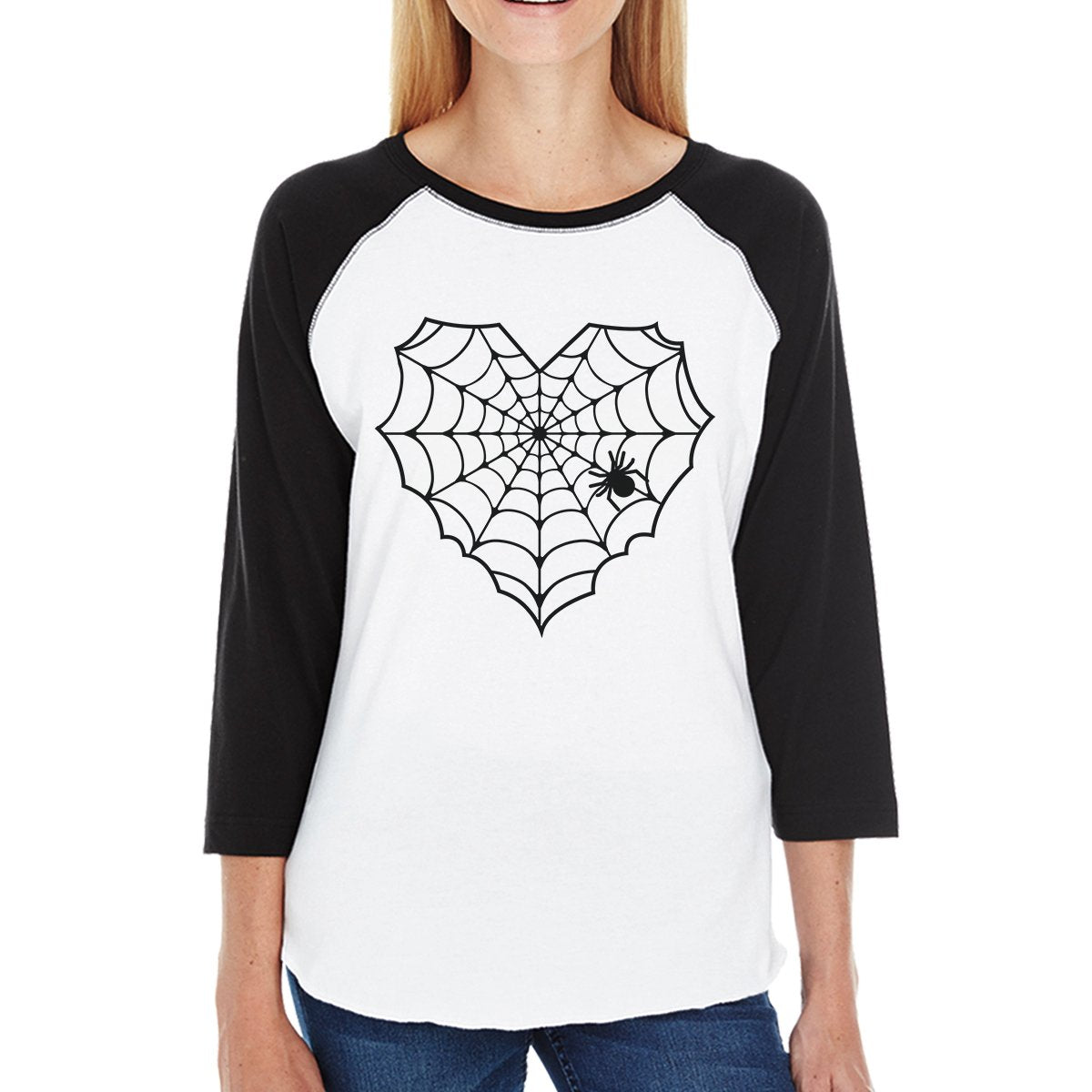 Heart Spider Web Womens Black And White Baseball Shirt