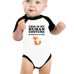 This Is My Human Costume Fox Baby Black And White Baseball Shirt