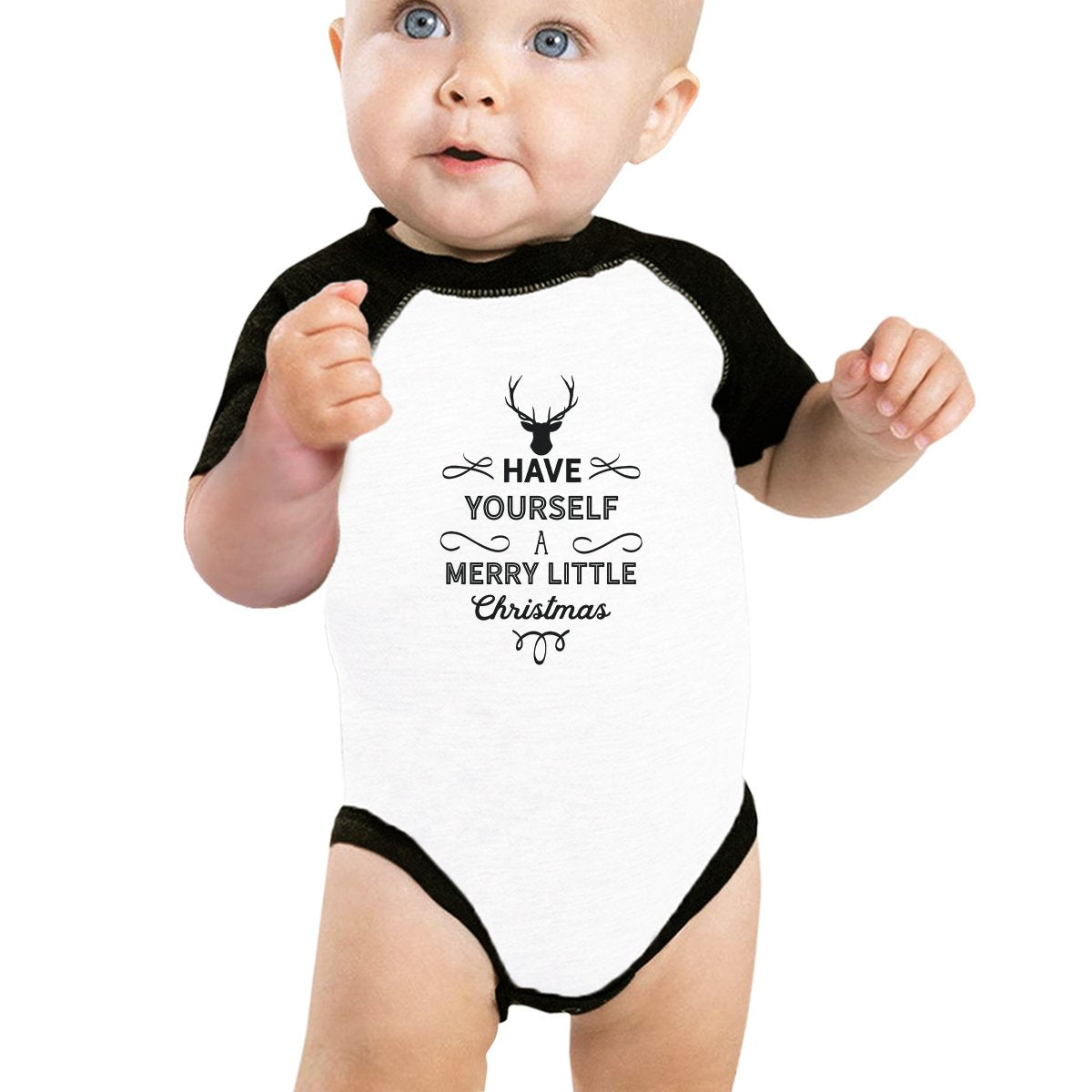Have Yourself A Merry Little Christmas Baby Black And White Baseball Shirt