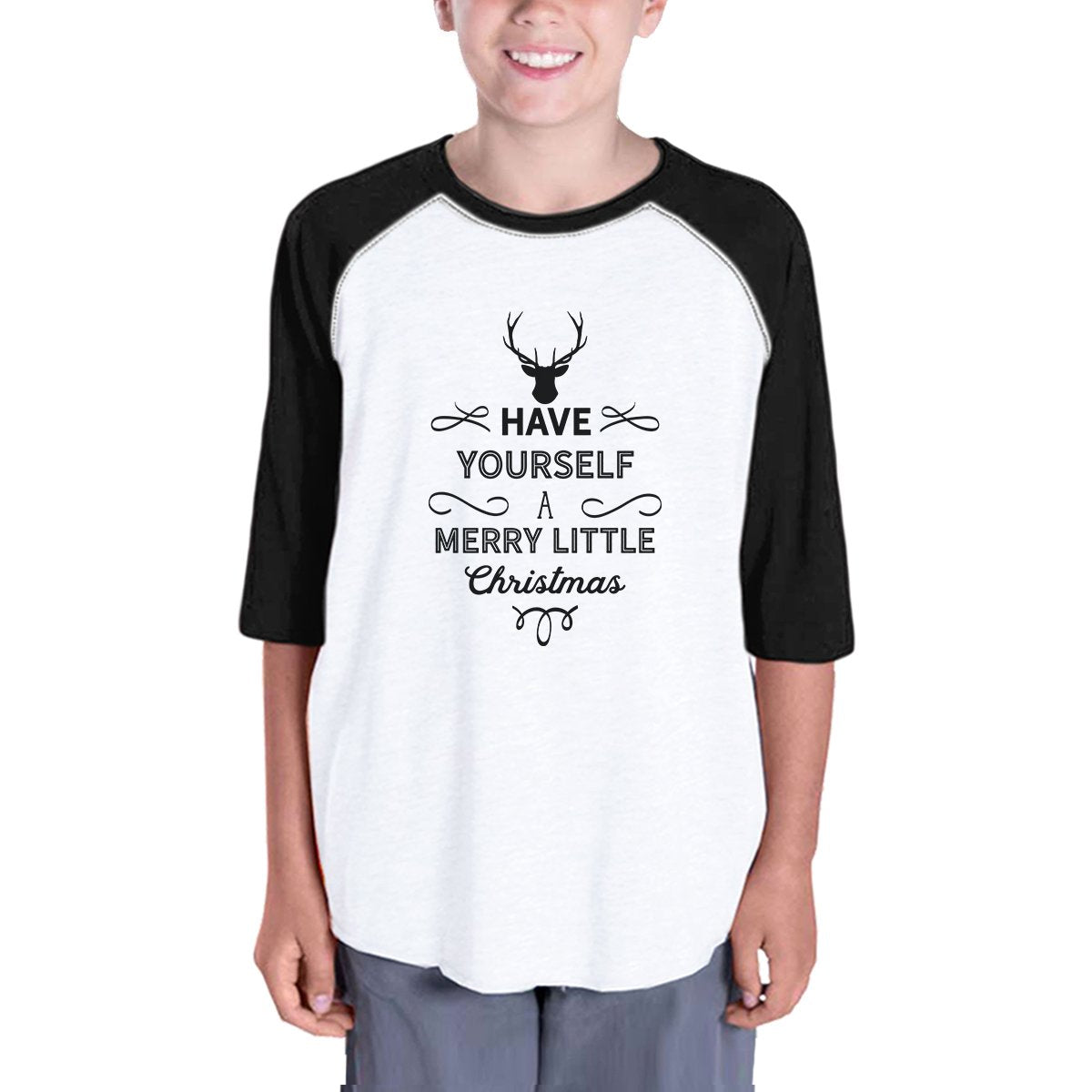 Have Yourself A Merry Little Christmas Kids Black And White Baseball Shirt