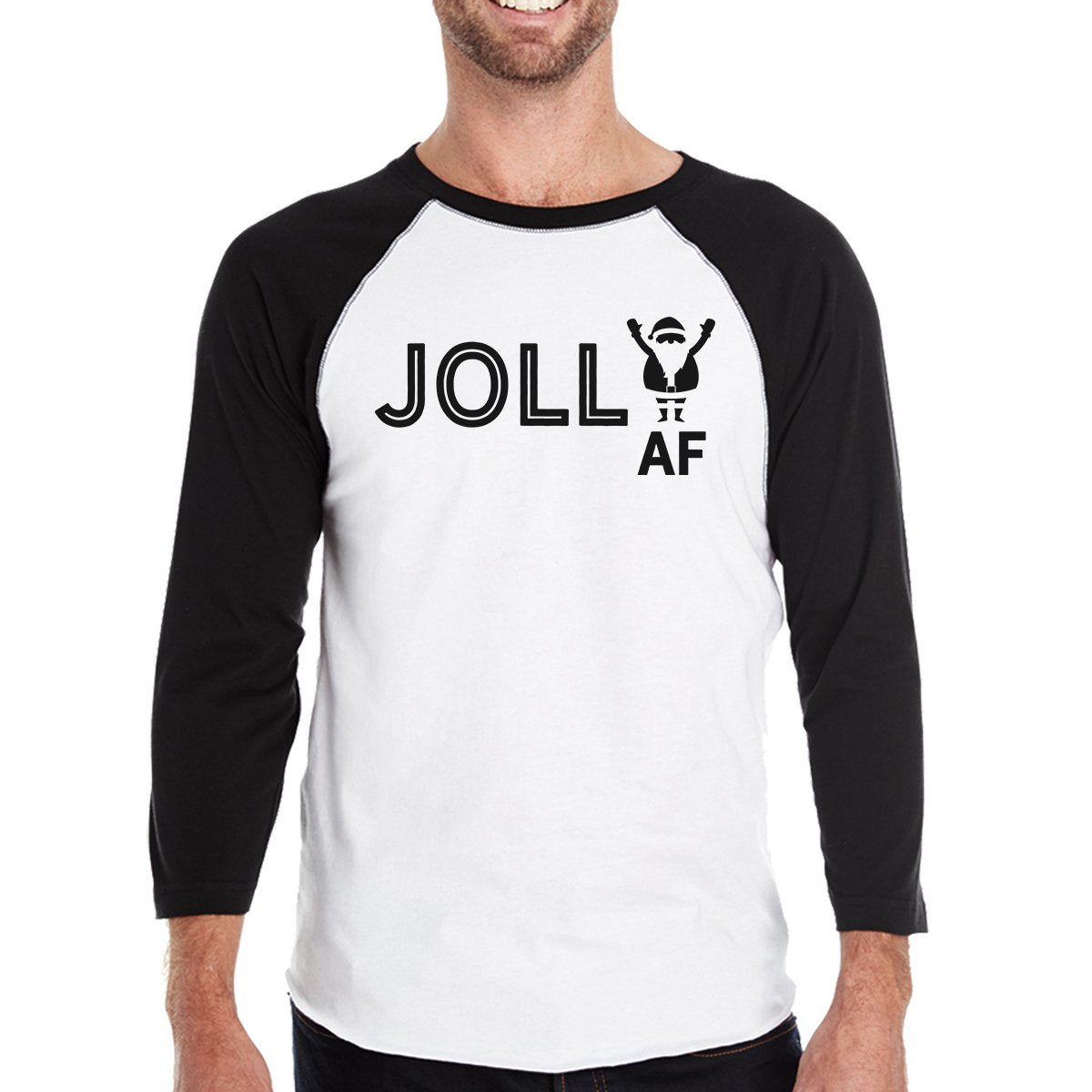 Jolly Af Mens Black And White Baseball Shirt