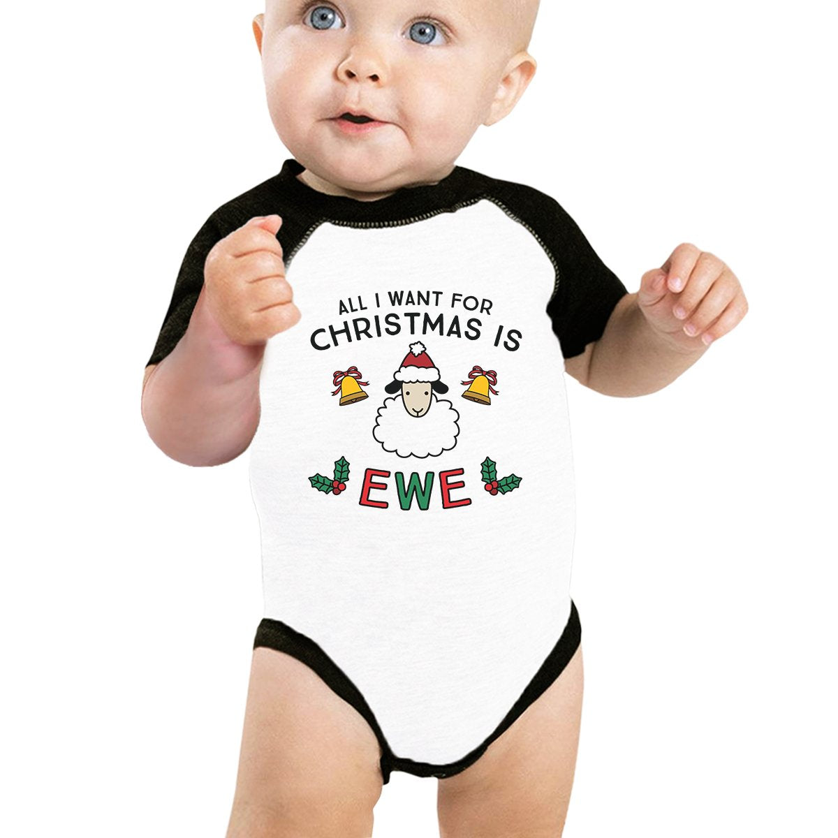 All I Want For Christmas Is Ewe Baby Black And White Baseball Shirt