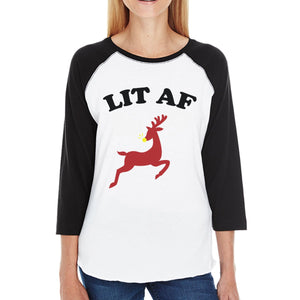 Lit Af Womens Black And White Baseball Shirt