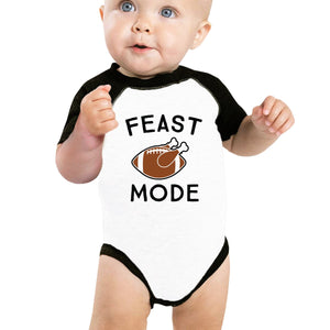 Feast Mode Baby Black And White Baseball Shirt