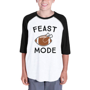 Feast Mode Kids Black And White Baseball Shirt