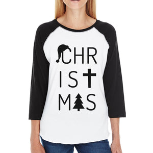 Christmas Letters Womens Black And White Baseball Shirt