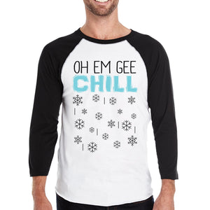 Oh Em Gee Chill Snowflakes Mens Black And White Baseball Shirt