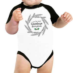 I Am The Best Christmas Decoration Wreath Baby Black And White Baseball Shirt
