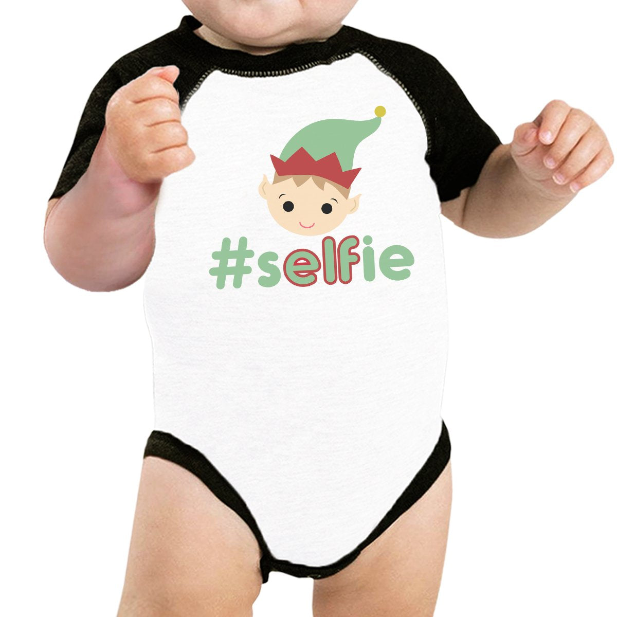 Hashtag Selfie Elf Baby Black And White Baseball Shirt