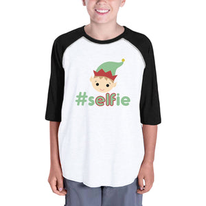 Hashtag Selfie Elf Kids Black And White Baseball Shirt