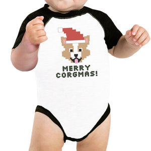 Merry Corgmas Corgi Baby Black And White Baseball Shirt