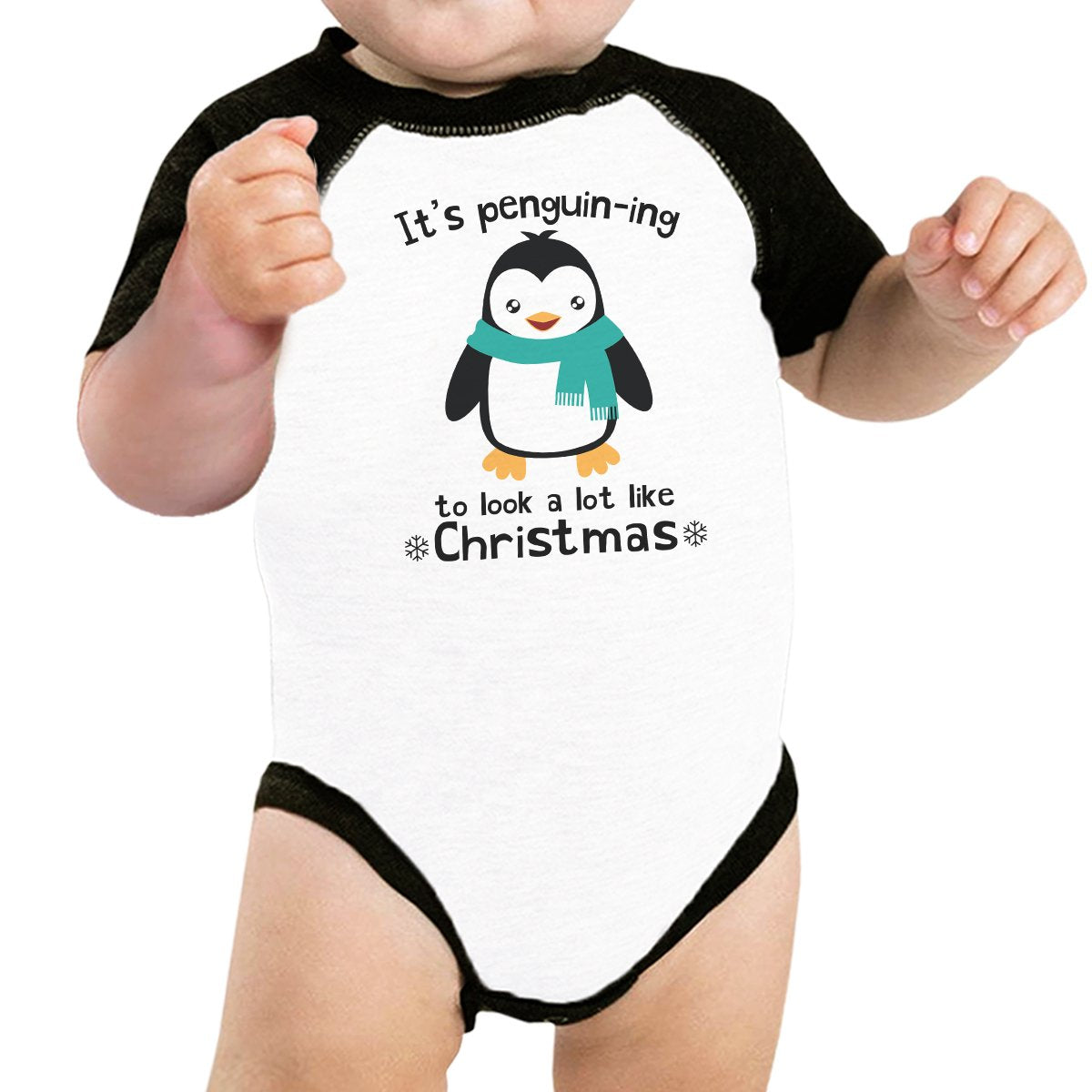 It's Penguin-Ing To Look A Lot Like Christmas Baby Black And White Baseball Shirt