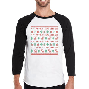 My Ugly Sweater Pattern Mens Black And White Baseball Shirt