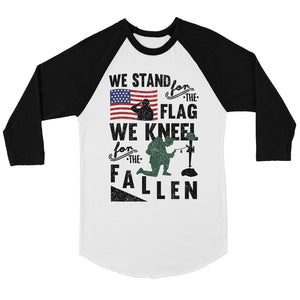 We Stand We Kneel Men Graphic Baseball Tee 4th of July Raglan Shirt