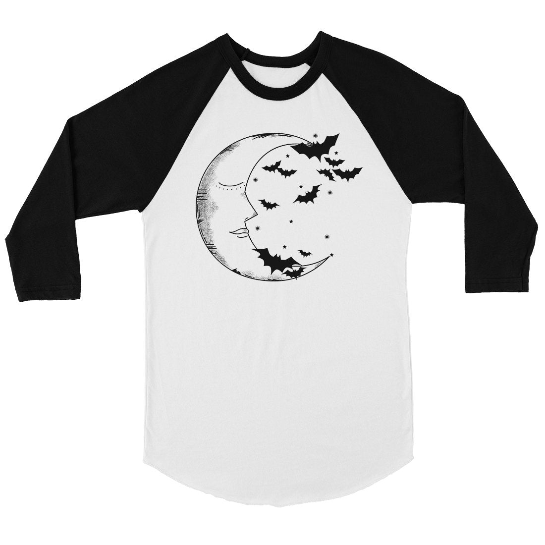 Moon And Bats Womens Baseball Tee