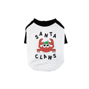 Santa Claws Crab Pet Baseball Shirt for Small Dogs