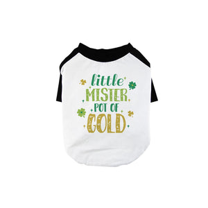 Little Mister Pot Of Gold Pet Baseball Shirt for Small Dogs Gifts