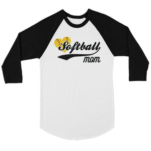 Softball Mom Womens Baseball Raglan Shirt Mother's Day Gift For Mom