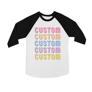 Colorful Multiline Text Modern Kids Personalized Baseball Shirt