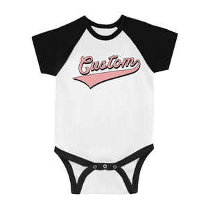 Pink College Swoosh Thoughtful Baby Personalized Baseball Shirt