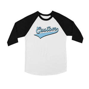 Blue College Swoosh Awesome Sweet Kids Personalized Baseball Shirt