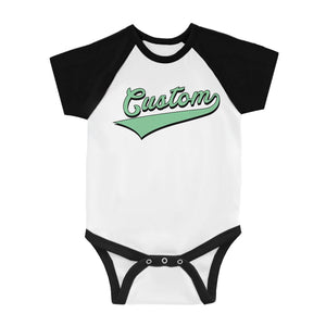 Green College Swoosh Lucky Fun Baby Personalized Baseball Shirt