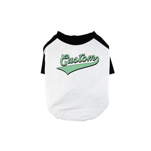 Green College Swoosh Pets Personalized Baseball Shirt for Small Dog