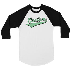 Green College Swoosh Perfect Womens Personalized Baseball Shirt