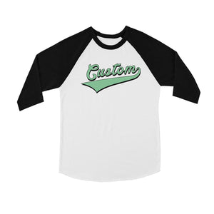Green College Swoosh Colorful Cute Kids Personalized Baseball Shirt