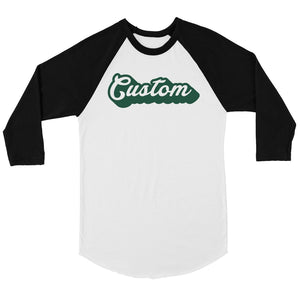 Green Pop Up Text Great Basic Mens Personalized Baseball Shirt Gift