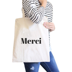 Merci Natural Canvas Bag Cute And Simple Shoulder bags Gift For Her