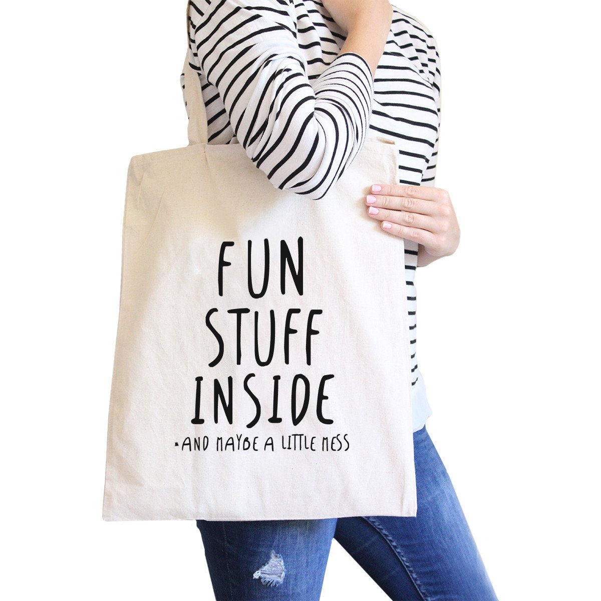 Fun Stuff Inside Natural Canvas Bag Book Bags Gifts For Teenagers