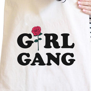 Girl Gang Rose Natural Canvas Bags Tote Bag Gift For Girlfriend