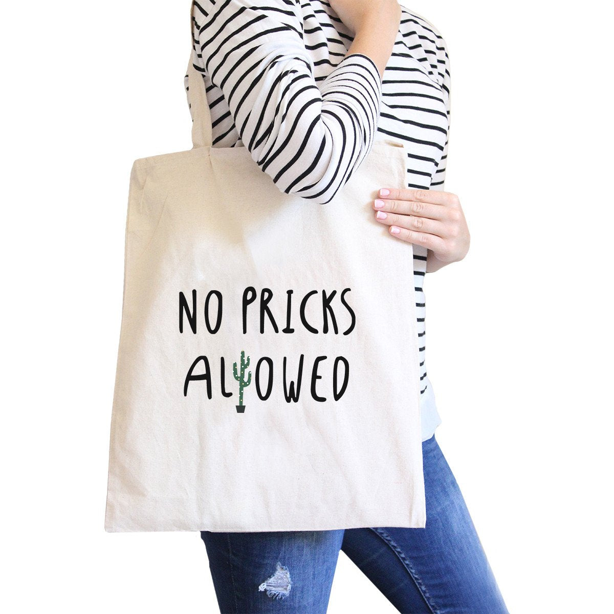 No Pricks Allowed Natural Canvas Bags Back To School Bag Tote Bag