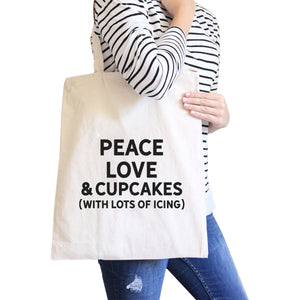 Peace Love Cupcakes Natural Canvas Bag Birthday Gift Tote Bags