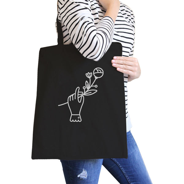 Hand Holding Flower Black Cotton Canvas Bag School Bag Craft Bag
